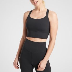 NWT Athleta warrior longline bra A-C cup black M